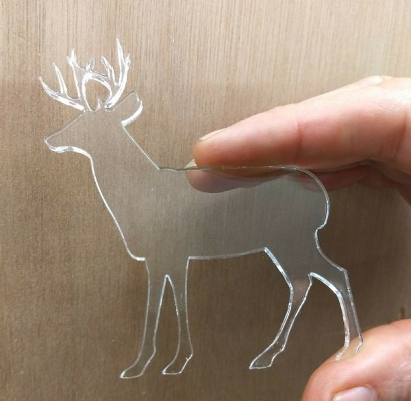 Single Clear Acrylic Reindeer Shapes, Laser Cut 3mm Perspex